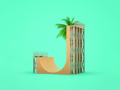 J for Jay Adams design illustration 36daysoftype conceptual cinema4d artwork 3d