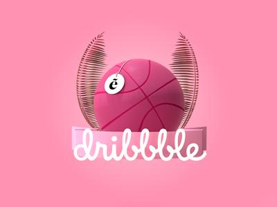 Dribbble invite gold illustration design cinema4d cgi artwork designer basket logo pink 3d dribbble invite invite dribbble