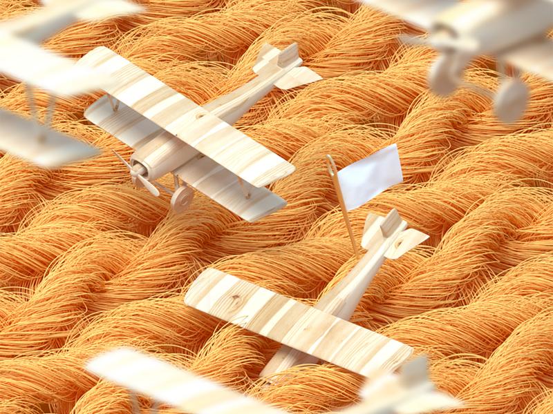War on wool octane render childhood plane cgi wool cinema4d illustration design conceptual 3d artwork