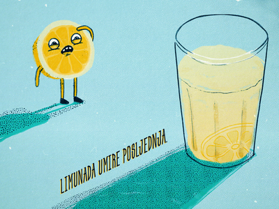When life gives you lemons lemonade lemon poster character design illustration