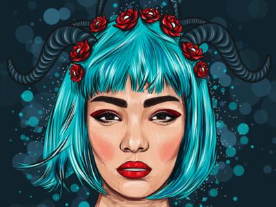 Mystical Girl with a blue hair