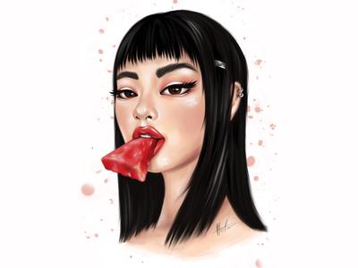 Strange asian girl