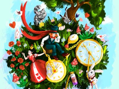 Alice in Wonderland. Hand-drawn style.