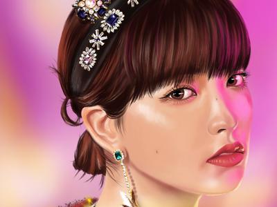 Digital Portrait of an Asian Girl made on iPad Pro