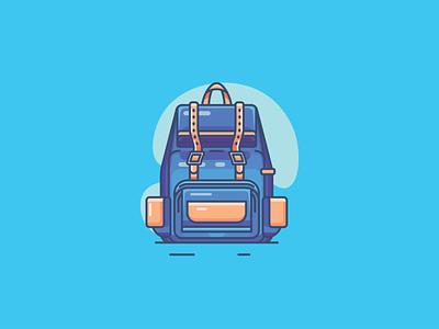 Backpack for school branding minimal illustrator icon flat  design ui flat vector design illustration