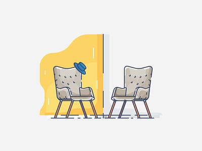 the chair ux minimal illustrator icon flat  design ui flat vector design illustration