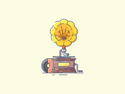 Gramophone ux minimal illustrator icon flat  design ui flat vector design illustration