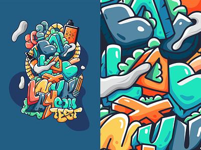 Badlab design Packaging packagedesign packaging font design font graffiti digital graffiti art graffiti doodleaday doodle doodleart flat vector design illustration