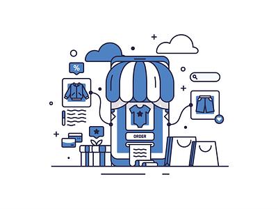 Market online ux minimal illustrator icon flat  design ui flat vector design illustration