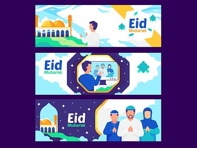 Eid mubarak banner ux branding minimal illustrator icon flat  design ui flat vector design illustration