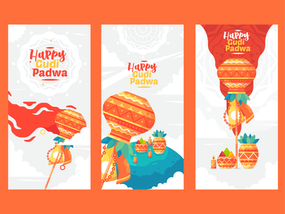 Gudipadwa Banner flat design typography branding ux minimal illustrator icon flat  design ui flat vector design illustration