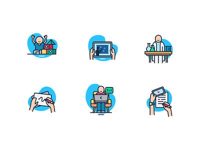Icon Home schooling minimal illustrator icon flat  design ui flat vector design illustration