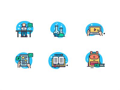 School icon flat design minimal illustrator icon flat  design ui flat vector design illustration