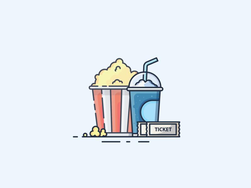 Popcorn minimal illustrator icon flat  design ui flat vector design illustration