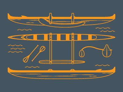 Outrigger illustration paddle outrigger canoe