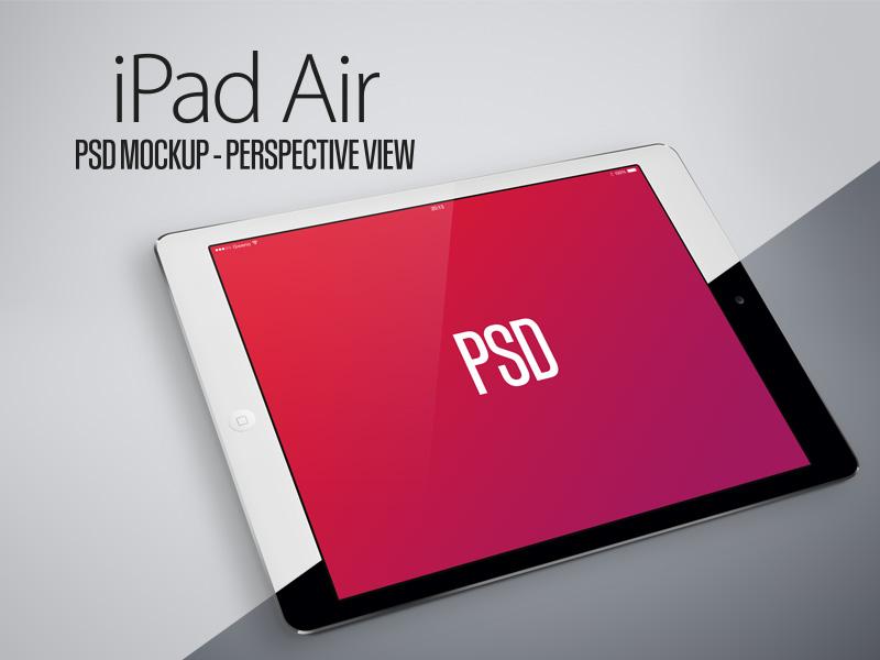 iPad Air PSD Mockup - Perspective View - Black & White freebie apple ipad air psd free mockup perspective white black