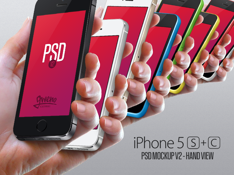 Iphone 5S & 5C Mockup - Hand PSD - Version 2 iphone free mockup psd apple 5s 5c download hand mobile photoshop template