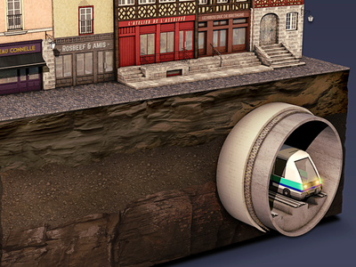 City of Rennes rennes gweno 3d illustration metro house brittany city underground transport