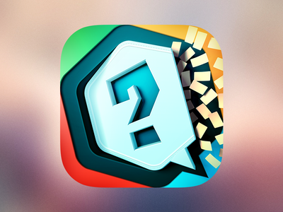 Quiiiz iOS Icon quiiiz ios icon color question blue 3d madsquare rennes cards