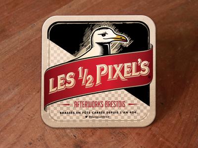 Les Demi-Pixels : Round Two brest rennes brittany beer afterwork france pixels beer mat gull illustration
