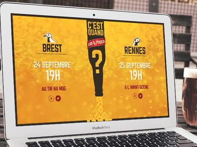 "Les Demi-Pixels ""When is it?"" Website brest rennes brittany beer afterwork france pixels illustration rendez-vous"