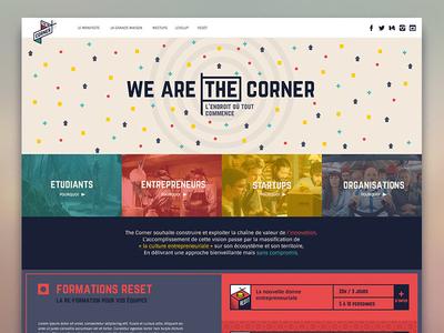 The Corner // Website startup innovation france bretagne branding site web red blue website brest corner