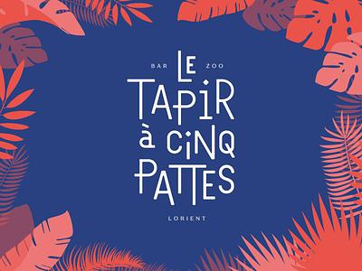 Le Tapir à cinq pattes - Logotype lorient bretagne france logo jungle red blue typo typography custom lettering branding logotype