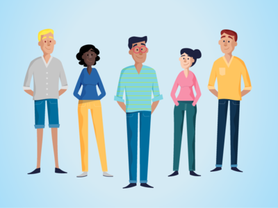 Character design blue illustration young colorful people motion character