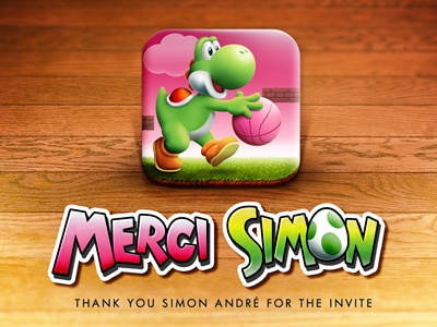 Thanks for the invite ios yoshi invite rennes thank thanks france first shot pink green mario icon ball basket bros