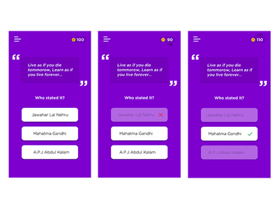 Guess Quote App — Questionnaire app design guess the quote guess quote ux ui app quote quiz