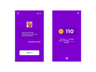 Guess Quote App — Screens app design quiz quote app ui ux guess quote guess the quote