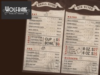 Wolfbane logo and menu layout