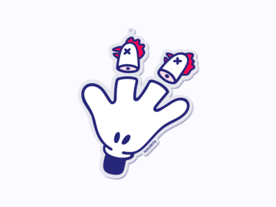 Not again 🐔 fun illustration stickermule charm mickey mouse hand chicken