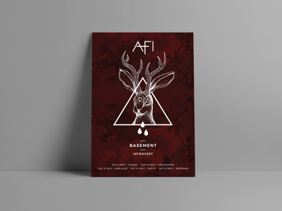 AFI Merch Poster [2017] redesign graphic drawing rabbit punkrock band poster band punk rock red illustration jackalope introvert basement punk