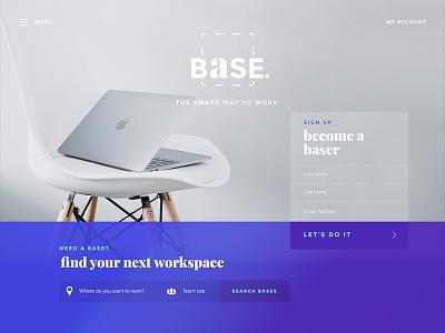 'Base' Workspace Sharing ui gradient desktop branding clean purple work office