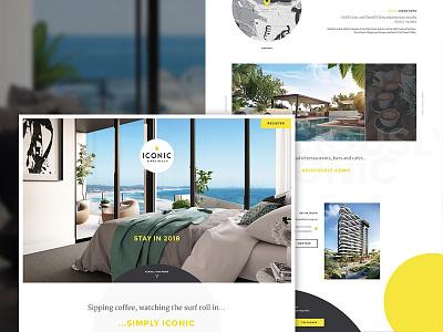 Iconic Kirra Website Landing Page desktop website landing ui ux responsive circles yellow clean hotel