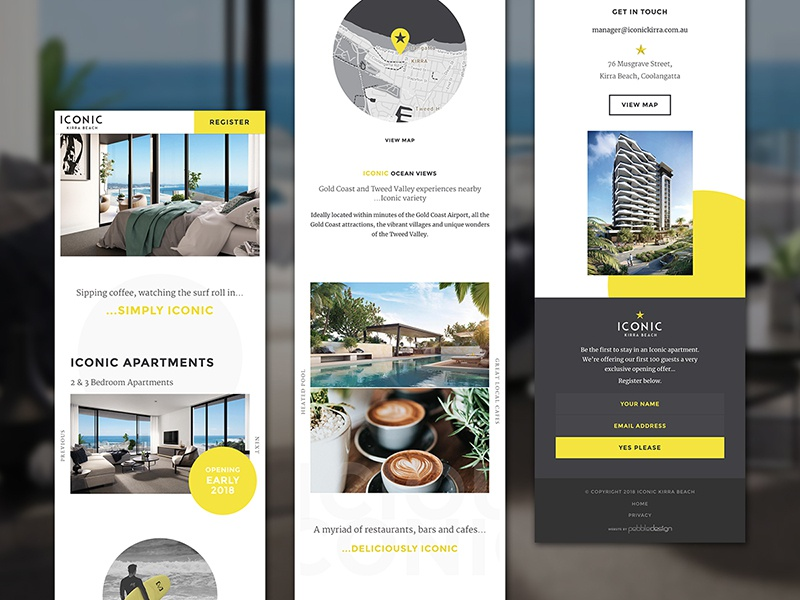 Iconic Kirra Website Mobile Landing Page yellow website ux ui responsive landing hotel mobile clean circles