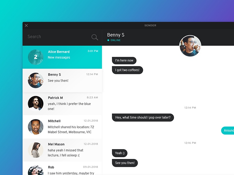 Chat / Messenger Interface - Desktop by Laura Eddy on Dribbble