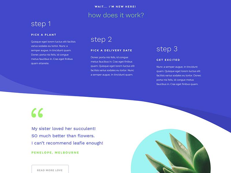 Plant Delivery Service Concept - Desktop website ui purple plants green curves curved colour bold blue asymmetrical