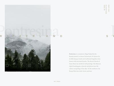 Typography Exercise #01 | Pontresina, Switzerland green gold poster layout grey graphics design typography