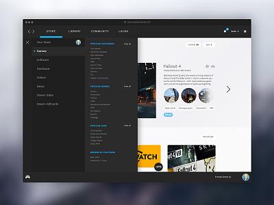 Steam Store Redesign - UI/UX focus blue grey dark interface ux ui gaming minimal clean redesign steam