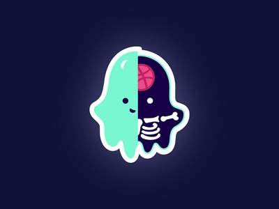Playoffs | Afterlife sticker character cute playoffs dribbble aqua glowing sticker ghost