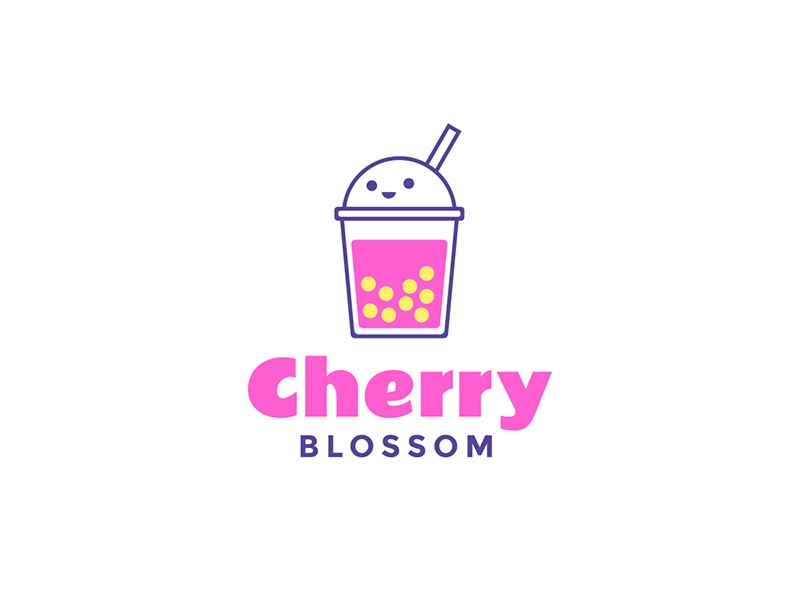 Bubble Tea Logo Concept branding tea playful young pink cute logo bubble tea