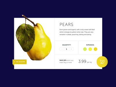 Fruit Shop | Product UI yellow ui product fruit pear navy ecommerce daily-ui add-to-cart