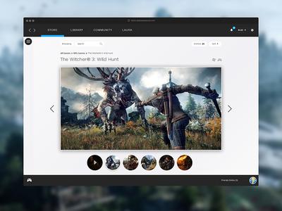 Steam Product Page Redesign - UI/UX focus ux ui steam redesign minimal interface grey gaming data dashboard dark blue