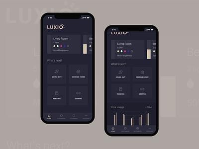 Smart Lighting App dark smart lights iphone minimal mobile gold grey smart home smart app lighting ux ui
