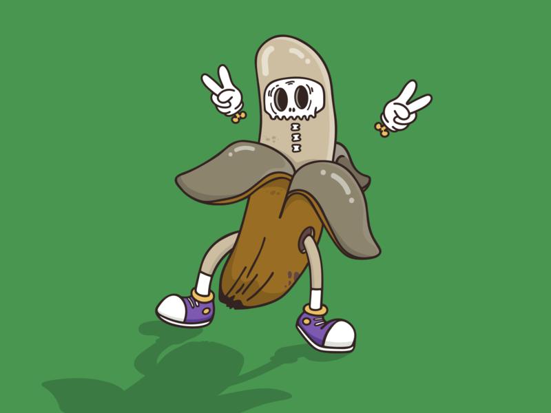 Halloween Costume Idea: Rotten Banana 🍌 stickermule design drawing cartoon peace illustrator rotten halloween banana vector illustration