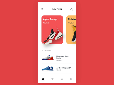 Parallax Swipe interaction shoes nike swipe parallax clean minimal ui prototype animation app
