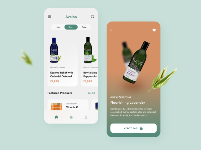 Cosmetic App Design interface ui design green application cart shopping ecommerce dribbble design creative dailyui ui clean organic products cosmetics app