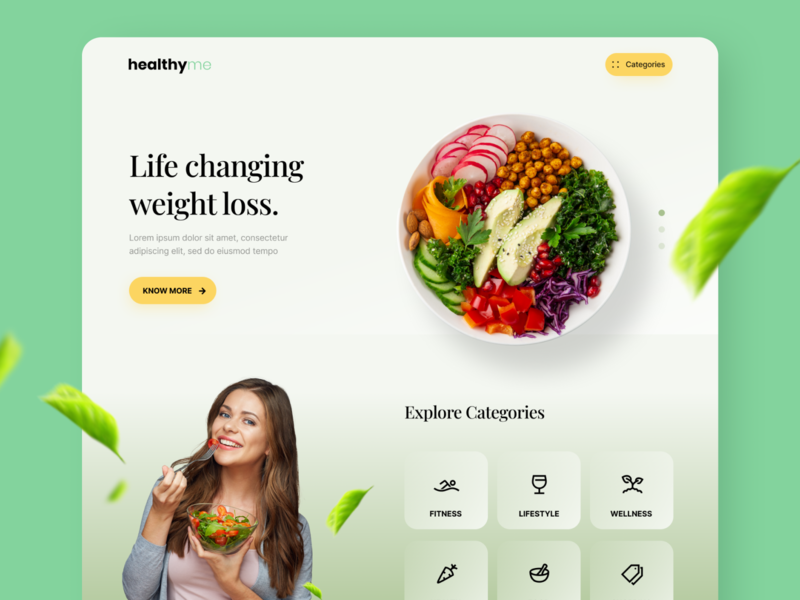 Landing Page - Organic Food clean 2020 article blog workout leaf green concept minimal website landing page dailyui ux ui vegan wellness fitness diet food organic